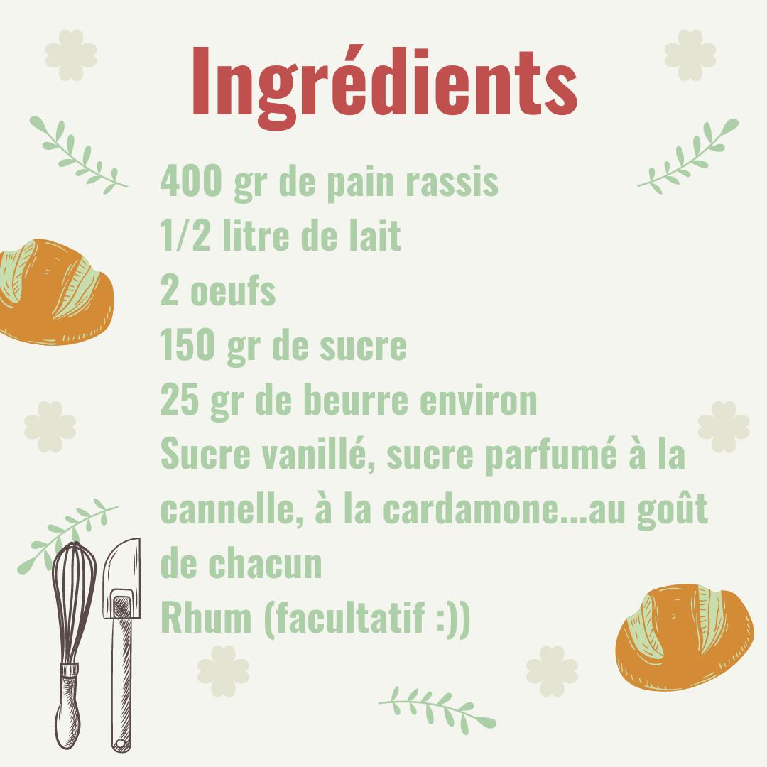 liste ingrédients pour la recette du pain perdu