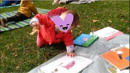 bébé sur l'herbe qui manipule une feuille morte