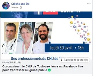 Coronavirus : le CHU de Toulouse lance un facebook live